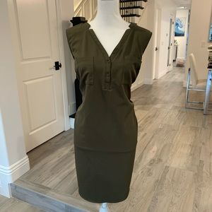 New York & Company Stretch Olive Green Dress
